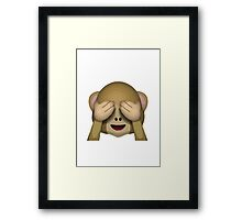 See-No-Evil Monkey Apple / WhatsApp Emoji Framed Print