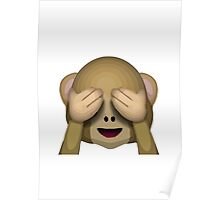 See-No-Evil Monkey Apple / WhatsApp Emoji Poster