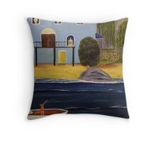Visit to the Beach Throw Pillow