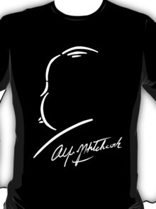 Alfred Hitchcock - White on Black T-Shirt