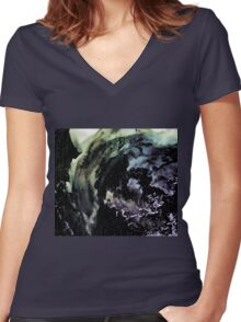 Ghostly wave abstract painting Women's Fitted V-Neck T-Shirt
