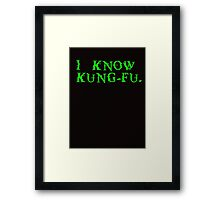 THE MATRIX: I know Kung-Fu Framed Print