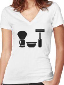 Barber shaving equipment Women's Fitted V-Neck T-Shirt