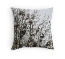 How many GB Herons do you see? Throw Pillow