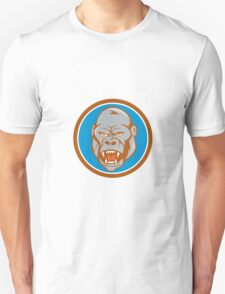 Angry Gorilla Head Circle Cartoon T-Shirt
