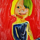 child with red background by donna malone