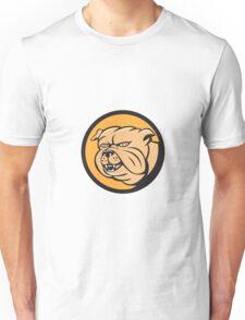 Bulldog Head Circle Cartoon Unisex T-Shirt