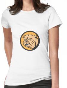 Bulldog Head Circle Cartoon Womens Fitted T-Shirt