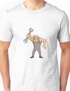 Bulldog Mechanic Spanner Standing Cartoon Unisex T-Shirt