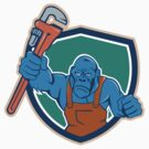 Angry Gorilla Plumber Monkey Wrench Shield Cartoon by patrimonio