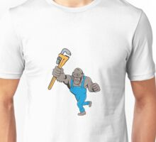 Angry Gorilla Plumber Monkey Wrench Isolated Unisex T-Shirt