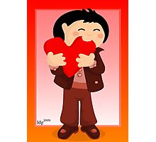 Nibbling Heart Boy Valentine Photographic Print