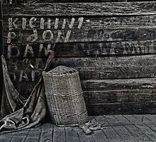 Weary Weavings - Hessian Bag & Cane Basket - Kinchega Woolshed - Kinchega NP by Jeff Catford