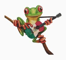 Tree Frog Playing Mexican Flag Guitar One Piece - Long Sleeve