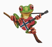 Tree Frog Playing Norwegian Flag Guitar One Piece - Long Sleeve