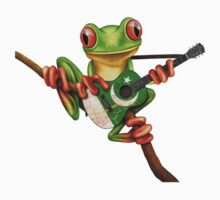 Tree Frog Playing Pakistani Flag Guitar One Piece - Long Sleeve