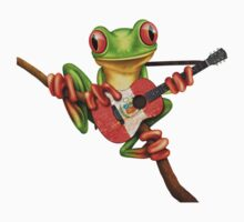 Tree Frog Playing Peruvian Flag Guitar One Piece - Long Sleeve