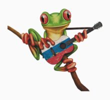 Tree Frog Playing Russian Flag Guitar One Piece - Short Sleeve
