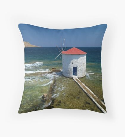 Floating windmill in the sea Throw Pillow