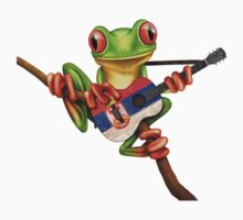 Tree Frog Playing Serbian Flag Guitar One Piece - Short Sleeve
