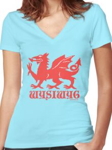 WYSIWYG Dragon Women's Fitted V-Neck T-Shirt