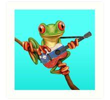 Tree Frog Playing Slovenian Flag Guitar Art Print