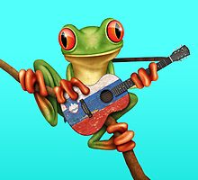 Tree Frog Playing Slovenian Flag Guitar by Jeff Bartels