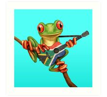 Tree Frog Playing South African Flag Guitar Art Print