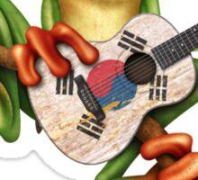 Tree Frog Playing South Korean Flag Guitar Sticker