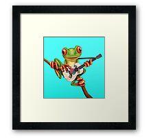 Tree Frog Playing South Korean Flag Guitar Framed Print