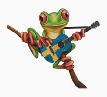 Tree Frog Playing Swedish Flag Guitar One Piece - Short Sleeve