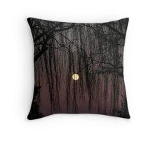 Moon Through Trees Throw Pillow