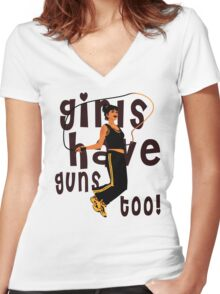 Girls Have Guns Too  Women's Fitted V-Neck T-Shirt
