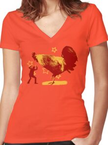 Attack of the Giant Rooster Women's Fitted V-Neck T-Shirt