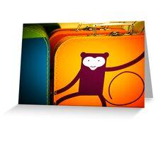 Monkey Luggage Greeting Card