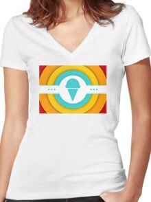 retro ice cream Women's Fitted V-Neck T-Shirt