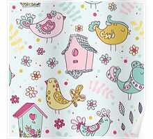 Cute Birds and Birds Houses Poster