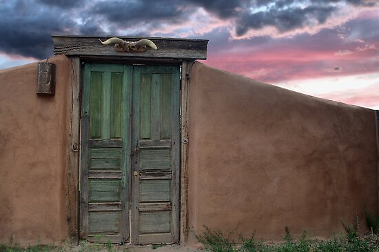 Adobe Wall with Green Door, Pena Blanca by Mitchell Tillison