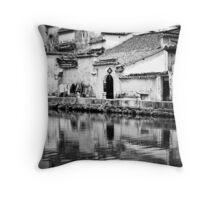 Water Town in Black & White 1 Throw Pillow