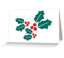 Xmas Holly Leaves Greeting Card