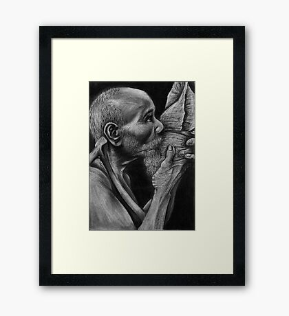 Conch Blower - Palau, Micronesia Framed Print