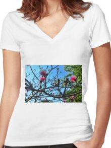 Shaving Brush Tree 5 Women's Fitted V-Neck T-Shirt