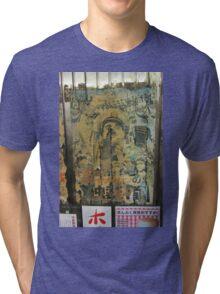 Tokyo Vintage Japanese Movie Posters under Yurakucho Railway Line Bridge Tri-blend T-Shirt