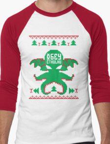 Refuse Christmas, Obey Cthulhu Men's Baseball ¾ T-Shirt