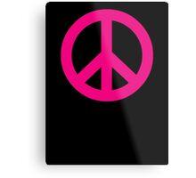 Magenta Peace Sign Symbol Metal Print