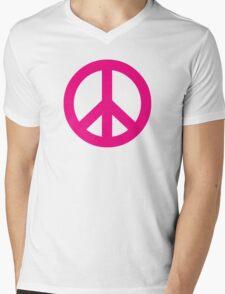 Magenta Peace Sign Symbol Mens V-Neck T-Shirt