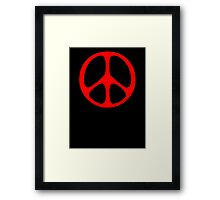Red 60s Peace Sign Symbol Framed Print