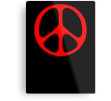 Red 60s Peace Sign Symbol Metal Print