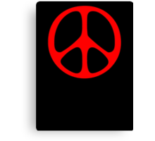 Red 60s Peace Sign Symbol Canvas Print