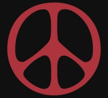 Red 60s Peace Sign Symbol by popculture